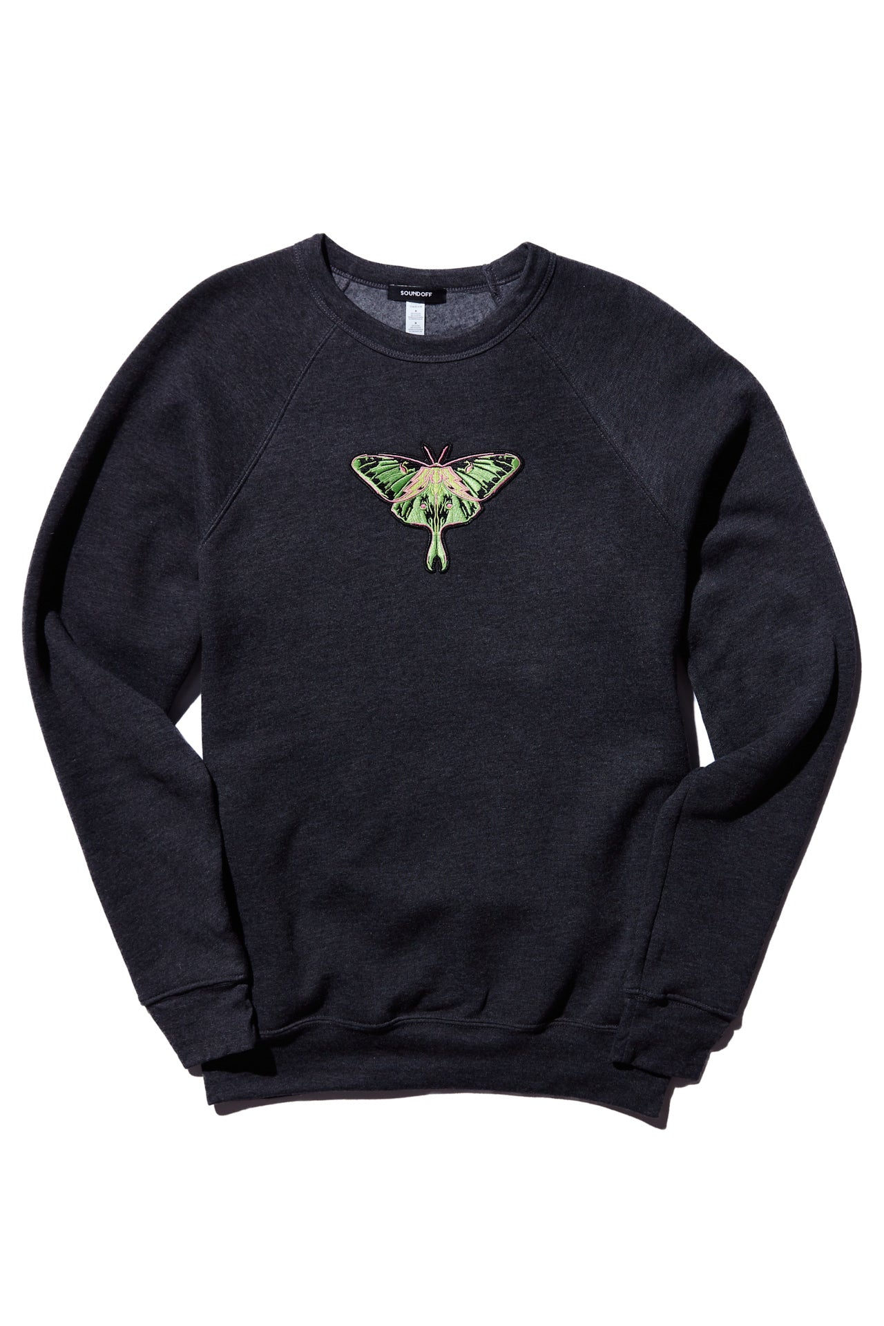 A MOTH TO A FLAME CREW SWEATSHIRT; DARK GRAY HEATHER