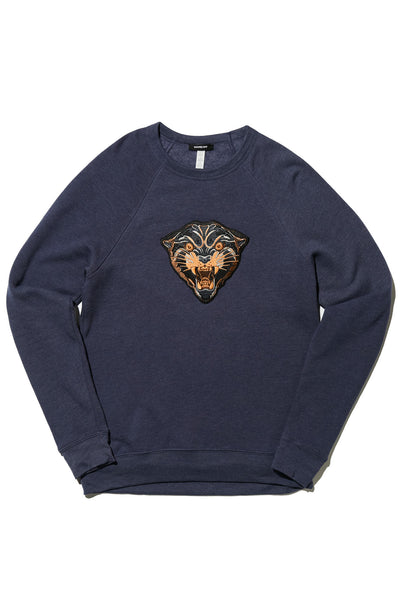 PANTHER MASCOT CREWNECK SWEATSHIRT; NAVY HEATHER
