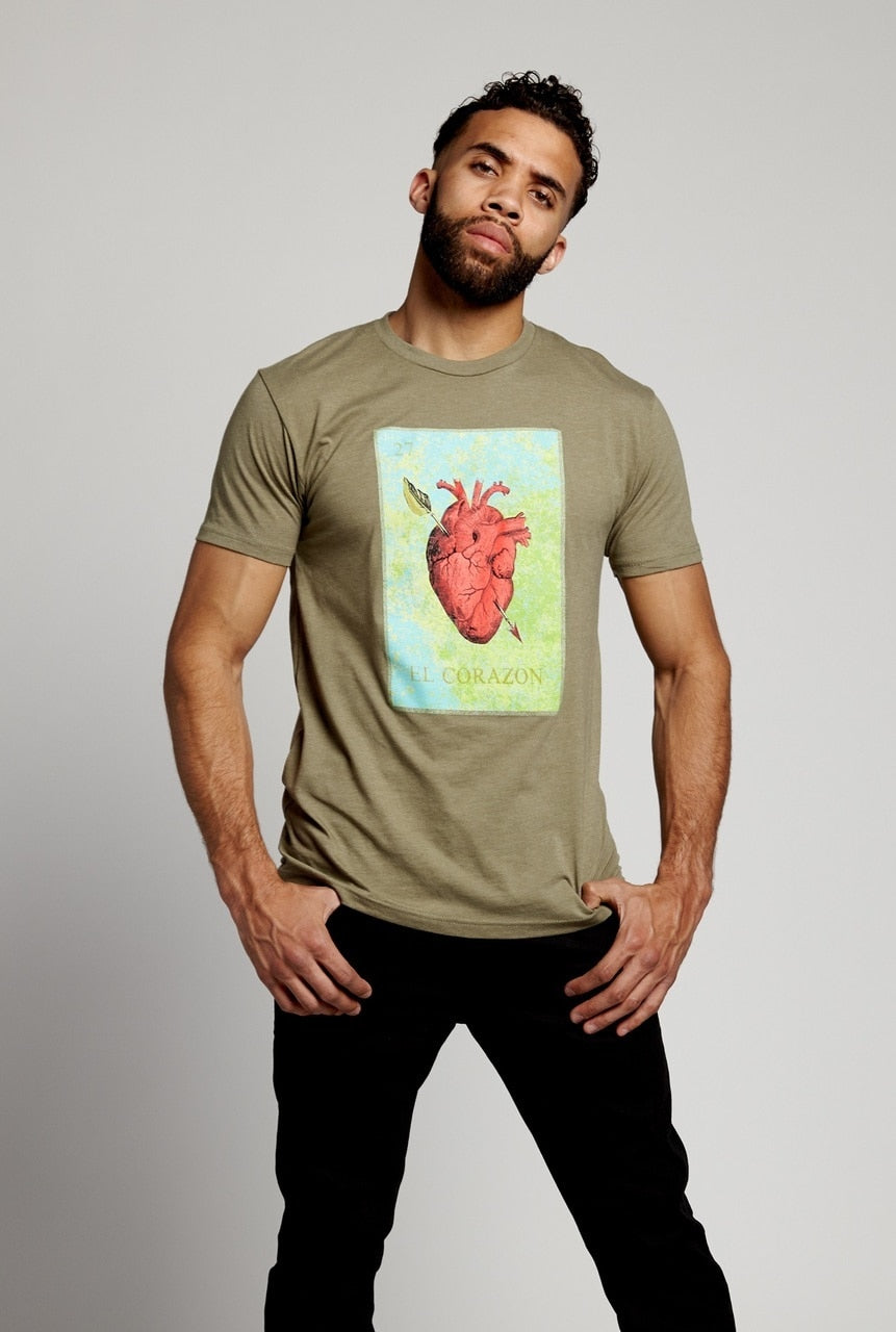soundoff.mens.green.t.shirt.graphic.tee.el.corazon.the.warriors.heart.cotton.polyester.rayon.blend.