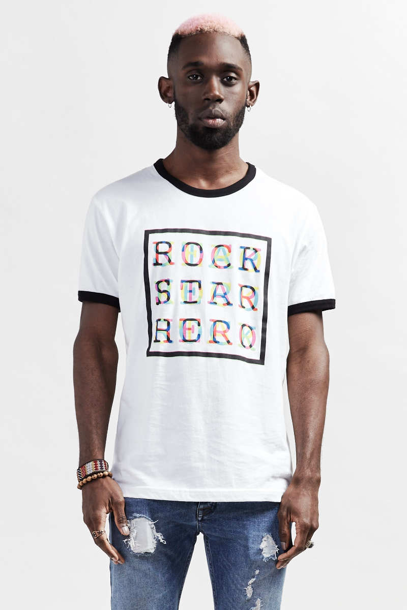 ROCK STAR HERO MC T-Shirt - White/Black