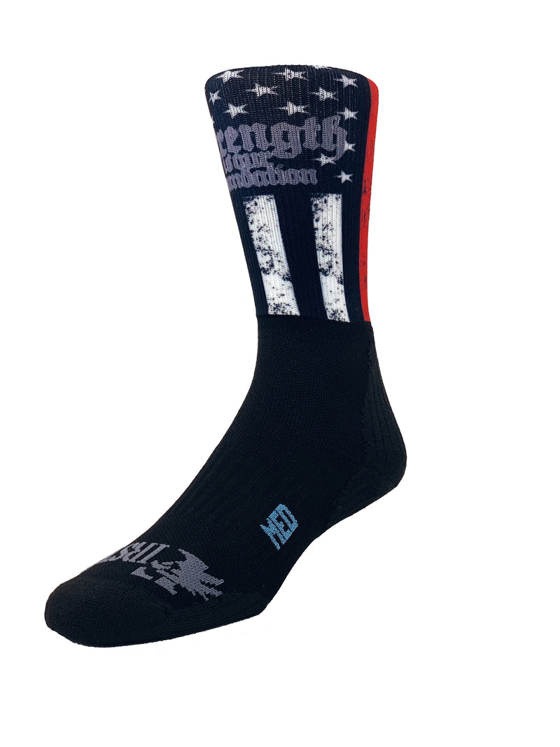 "555 FITNESS: ""STRENGTH IS OUR FOUNDATION"" CREW SOCKS"
