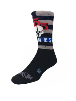 555 FITNESS: BLUE LINE AND SKULL CREW SOCKS
