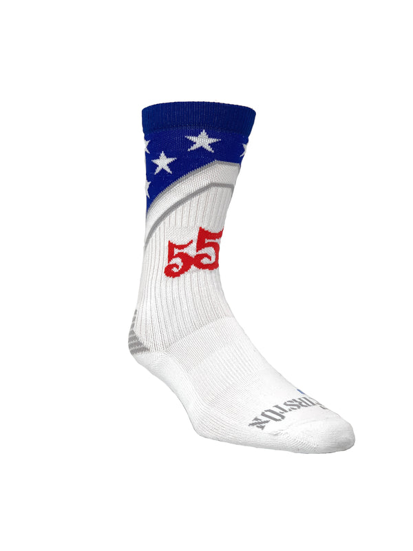 555 FITNESS: STARS AND STRIPES CREW SOCKS