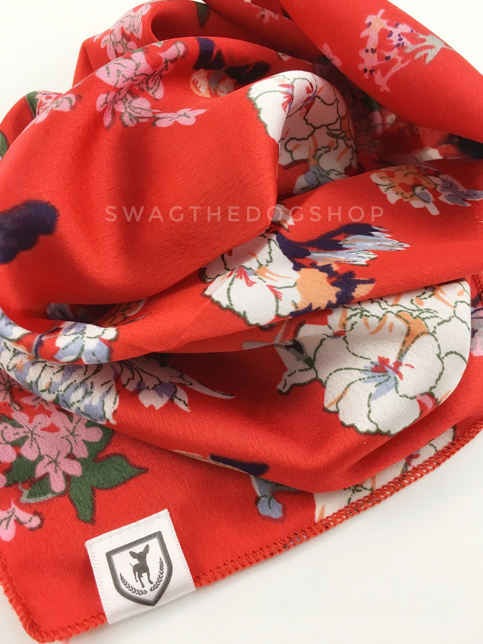 Red Wild Flowers Swagdana Scarf - Close-up View Of Product. Dog Bandana. Dog Scarf.