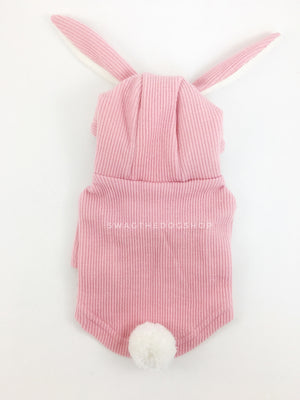 Pink Bunny Hoodie - Product Back View. Pink Bunny Hoodie with Pom Pom Tail
