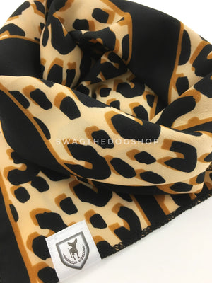 Leopard Ivory Cream Swagdana Scarf - Close-up View Of Product. Dog Bandana. Dog Scarf.