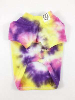 Swagadelic Spiral Tie Dye Tee - Product front view. The hand tie-dyed tee with Pink, Yellow and Purple