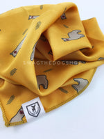 Lorenzo Llama Yellow Swagdana Scarf - Close-up View of Product. Dog Bandana. Dog Scarf.