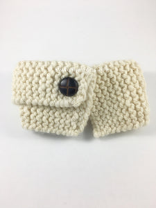 Starlight Sparkle Swagsnood - Product Front View. Cream Color with Sparkle Thread Dog Snood with Accent Button