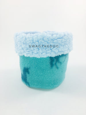Blue Unicorn Swagsnood - Product Front View. Blue sherpa rolled up 1/3 of the snood and 2/3 with blue unicorn print fleece
