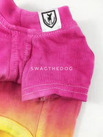 Swagadelic Summer Sunset Ombré Tie Dye Tee - Close-up of product front view. The hand tie-dyed tee with Pink and Yellow