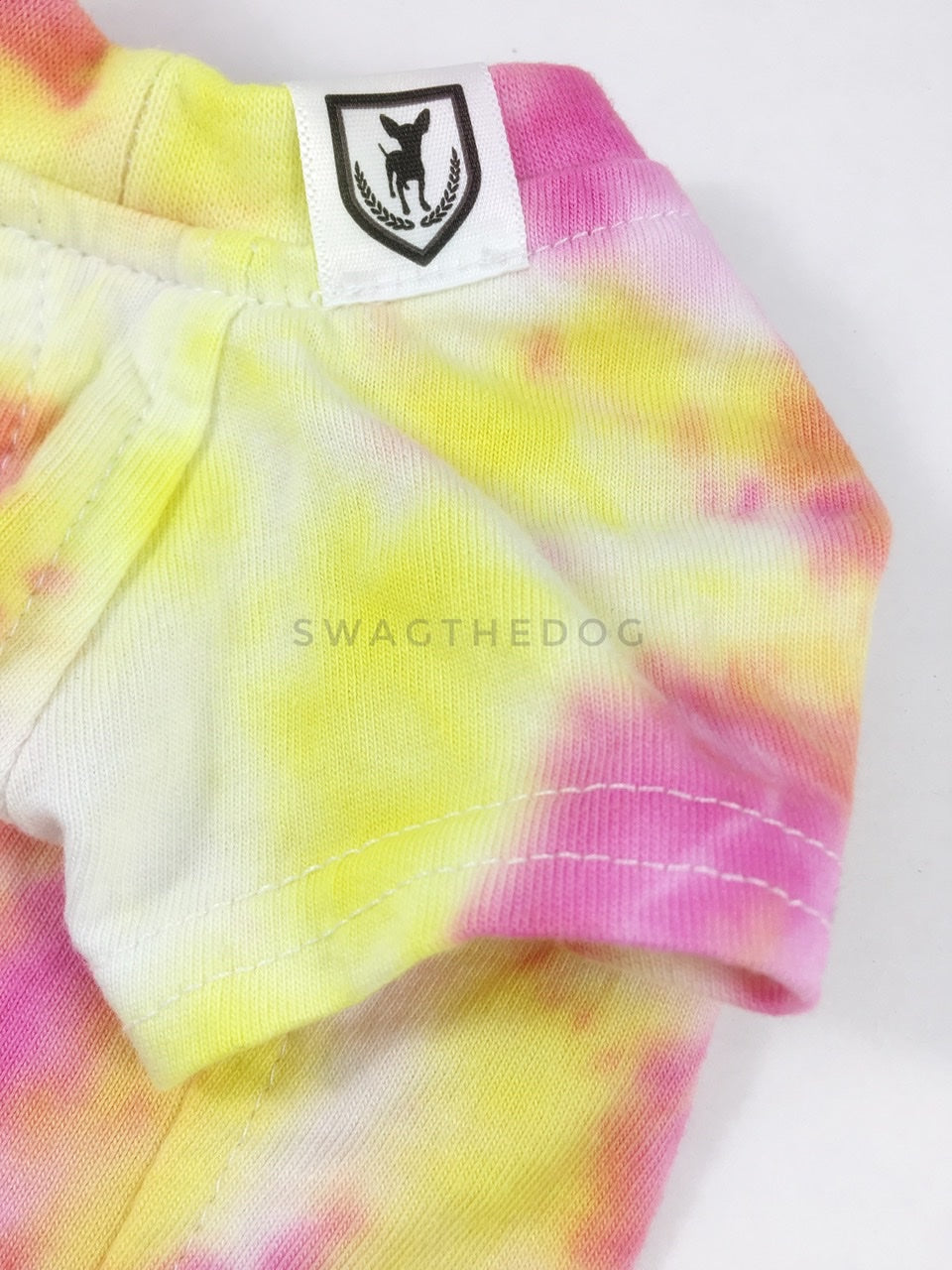 Swagadelic Cotton Candy Tie Dye Tee - Close-up of product front view. The hand tie-dyed tee with Pink and Yellow