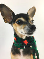 Fierce Forest Green with Red Swagdana Scarf - Bust of Cute Chihuahua Wearing Swagdana Scarf as Neckerchief. Dog Bandana. Dog Scarf