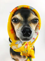 Yellow Wild Flower Swagdana Scarf - Bust of Cute Chihuahua Wearing Swagdana Scarf as Headscarf. Dog Bandana. Dog Scarf.