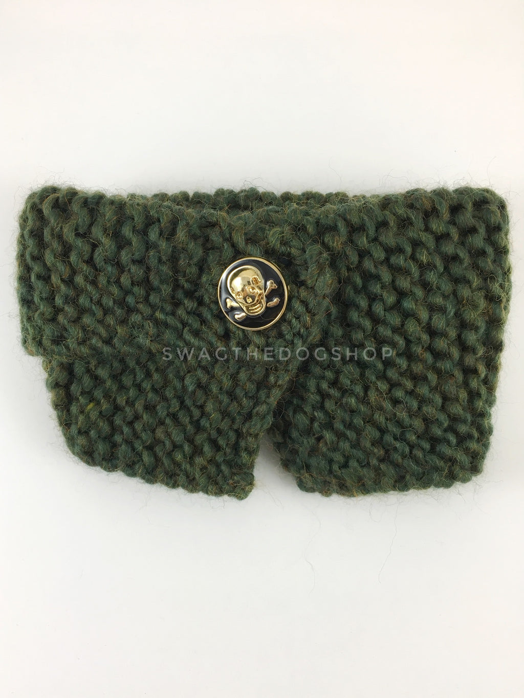 Army Green Swagsnood - Product Front View. Army Green Color Dog Snood with Accent Button
