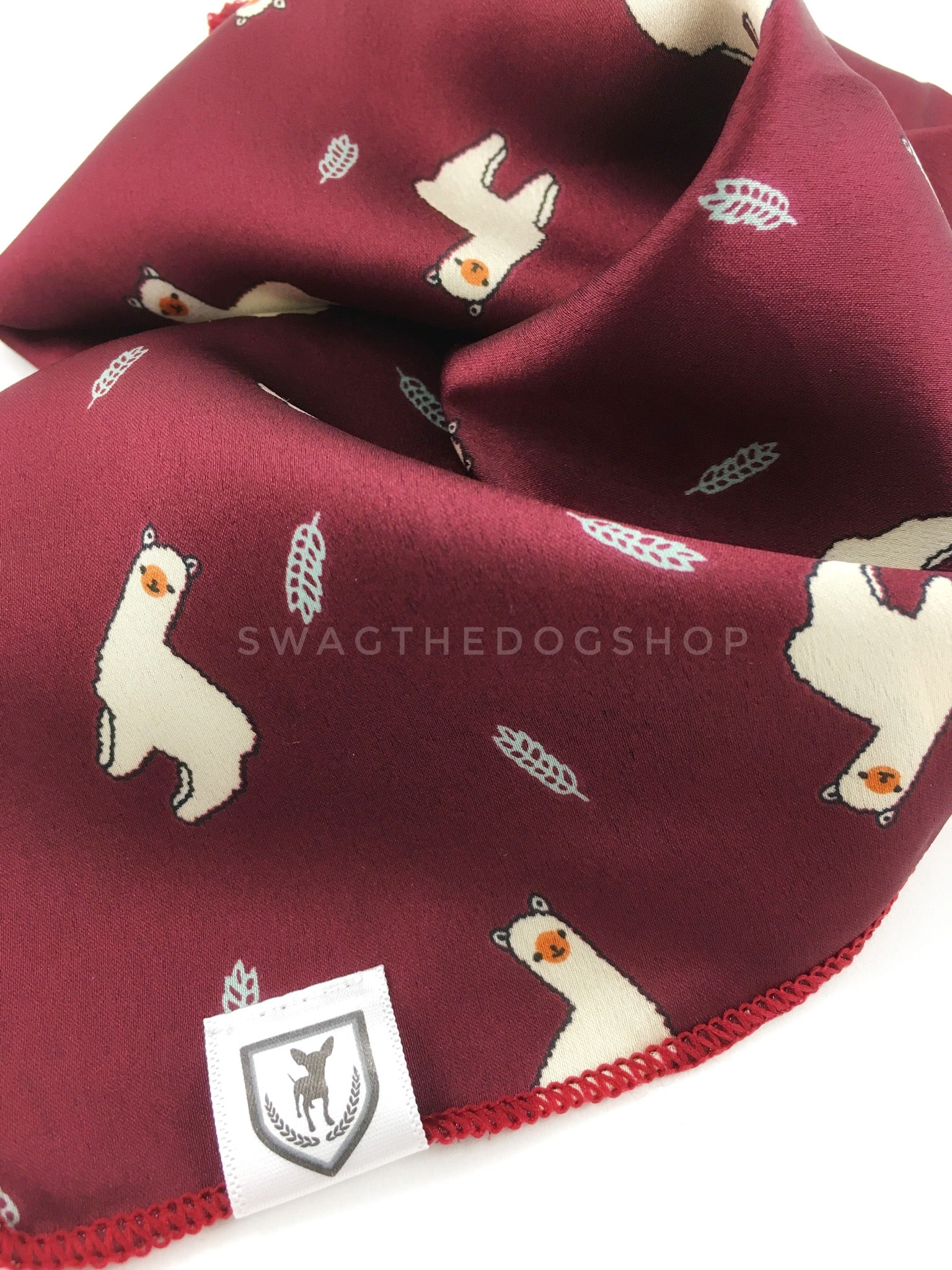 Lorenzo Llama Burgundy Swagdana Scarf - Close-up View of Product. Dog Bandana. Dog Scarf.