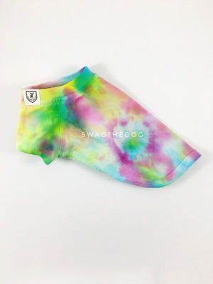 Swagadelic Hipster Tie Dye Tee - Product side view. The hand tie-dyed tee with Pink, Yellow and Sky Blue