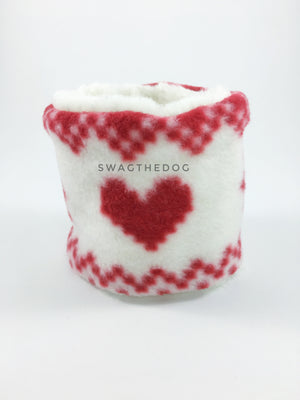 Full of Heart Swagsnood - Product Front View. Full of heart print fleece Dog Snood and cream faux fur peeking out
