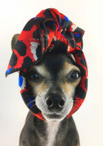 Fierce Vibrant Red with Blue Swagdana Scarf - Bust of Cute Chihuahua Wearing Swagdana Scarf as Headband. Dog Bandana. Dog Scarf