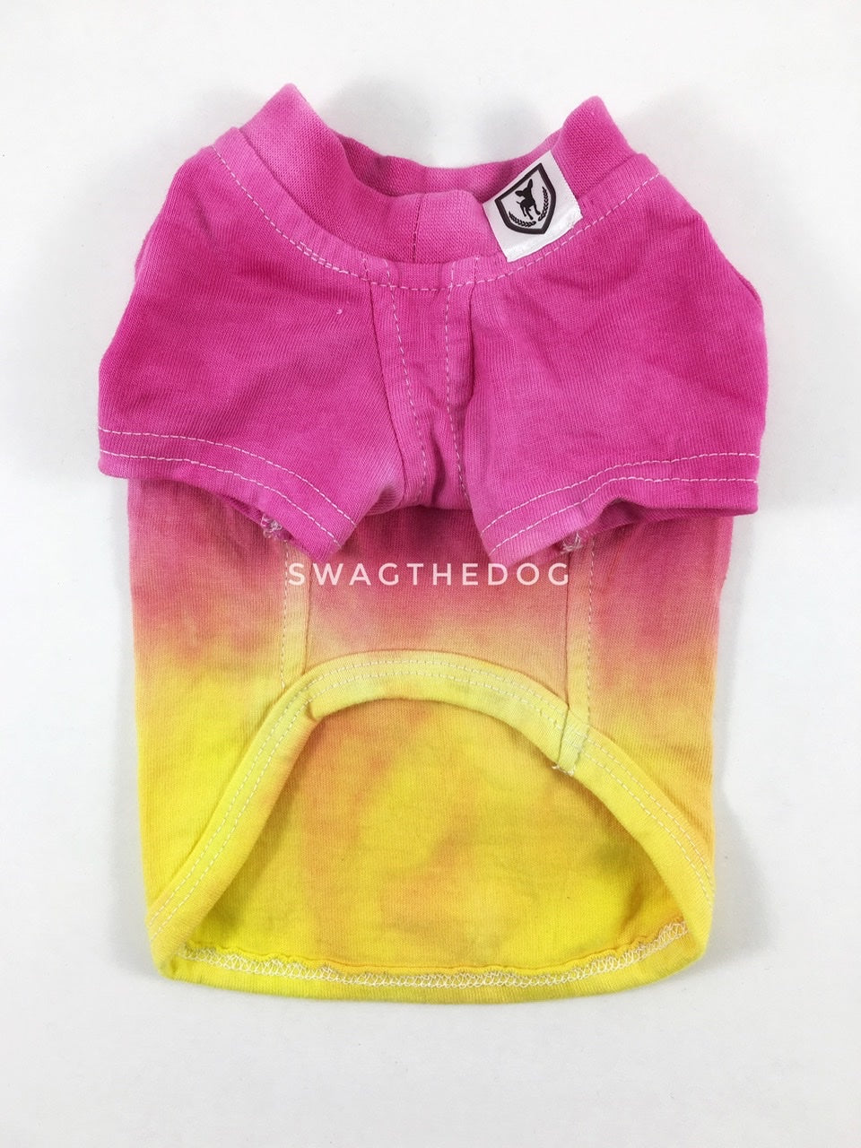 Swagadelic Summer Sunset Ombré Tie Dye Tee - Product front view. The hand tie-dyed tee with Pink and Yellow