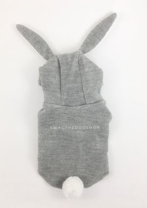 Gray Bunny Hoodie - Product Back View. Gray Bunny Hoodie with Pom Pom Tail