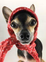Polka Itty Bitty Coral Swagdana Scarf - Bust of Cute Chihuahua Wearing Swagdana Scarf as Headscarf. Dog Bandana. Dog Scarf.