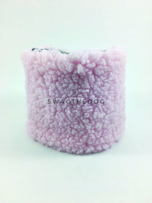 Gray Snow Leopard Swagsnood - Product Front View. Pink Sherpa Side