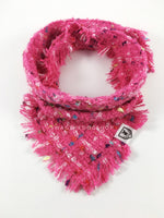 Hot Pink Tweed Swagdana with Frayed Edges - Product Shot. Dog Bandana. Dog Scarf.