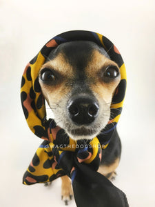 Leopard Sunflower Yellow Swagdana Scarf - Bust of Cute Chihuahua Wearing Swagdana Scarf as Headscarf. Dog Bandana. Dog Scarf.