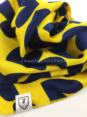 Full of Heart Yellow Swagdana Scarf - Close-up View Of Product. Dog Bandana. Dog Scarf.