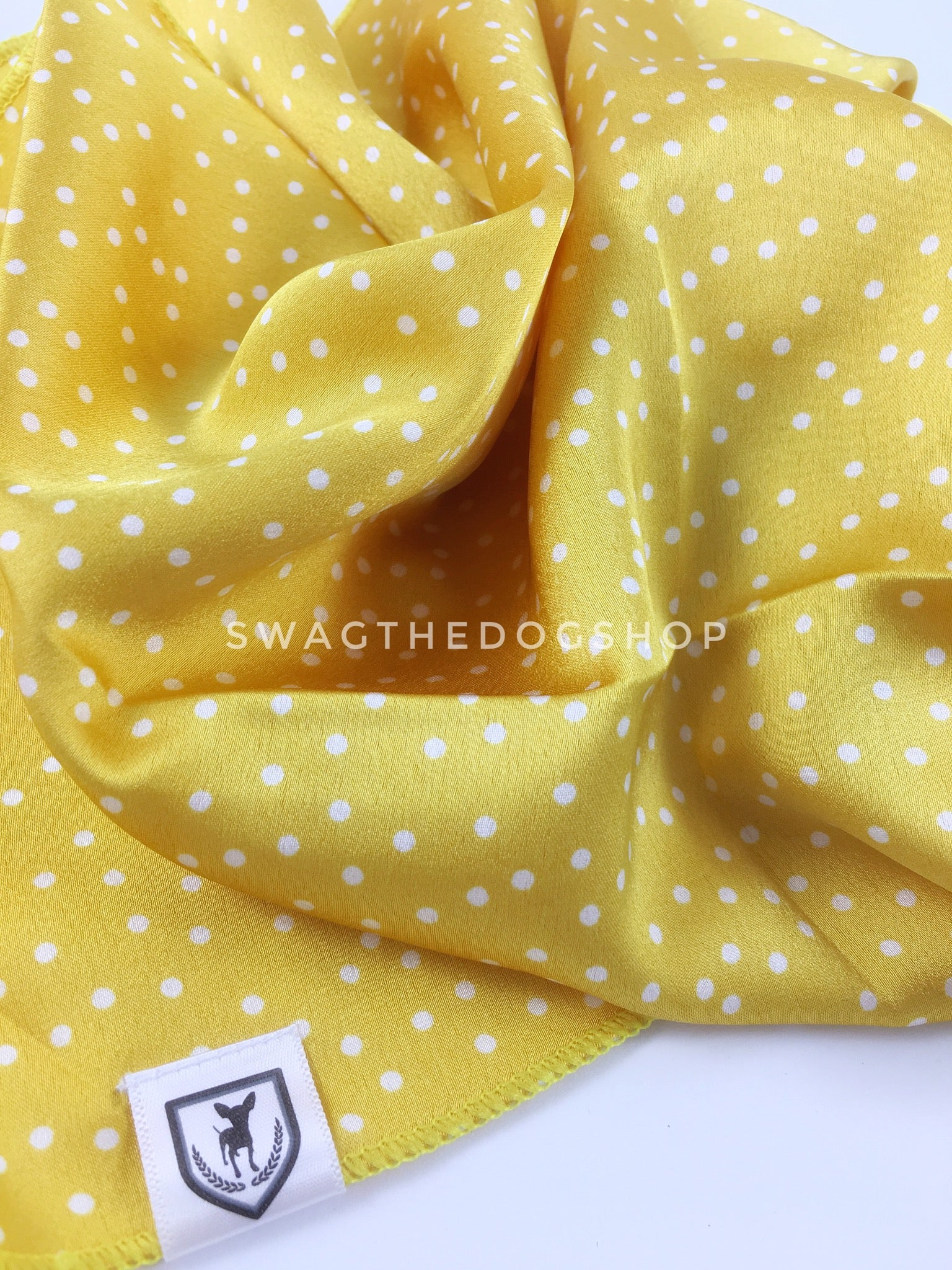 Polka Itty Bitty Sunny Yellow Swagdana Scarf - Close-up View of Product. Dog Bandana. Dog Scarf.