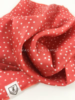Polka Itty Bitty Coral Swagdana Scarf - Close-up View of Product. Dog Bandana. Dog Scarf.