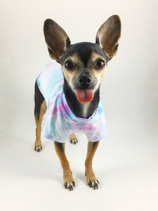 Swagadelic Unicorn Tie Dye Tee - Frontal of cute Chihuahua named Hugo in standing position with his tongue out, wearing the hand tie-dyed tee with Pink and Sky Blue