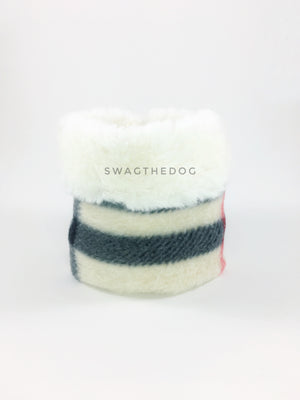 Furberry Swagsnood - Product Front View. Faux fur rolled up 1/3 of the snood and 2/3 with cream burberry print fleece