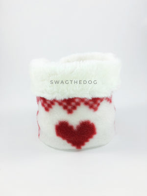 Full of Heart Swagsnood - Product Front View. Cream faux fur rolled up 1/3 of the snood and 2/3 with full of heart print fleece