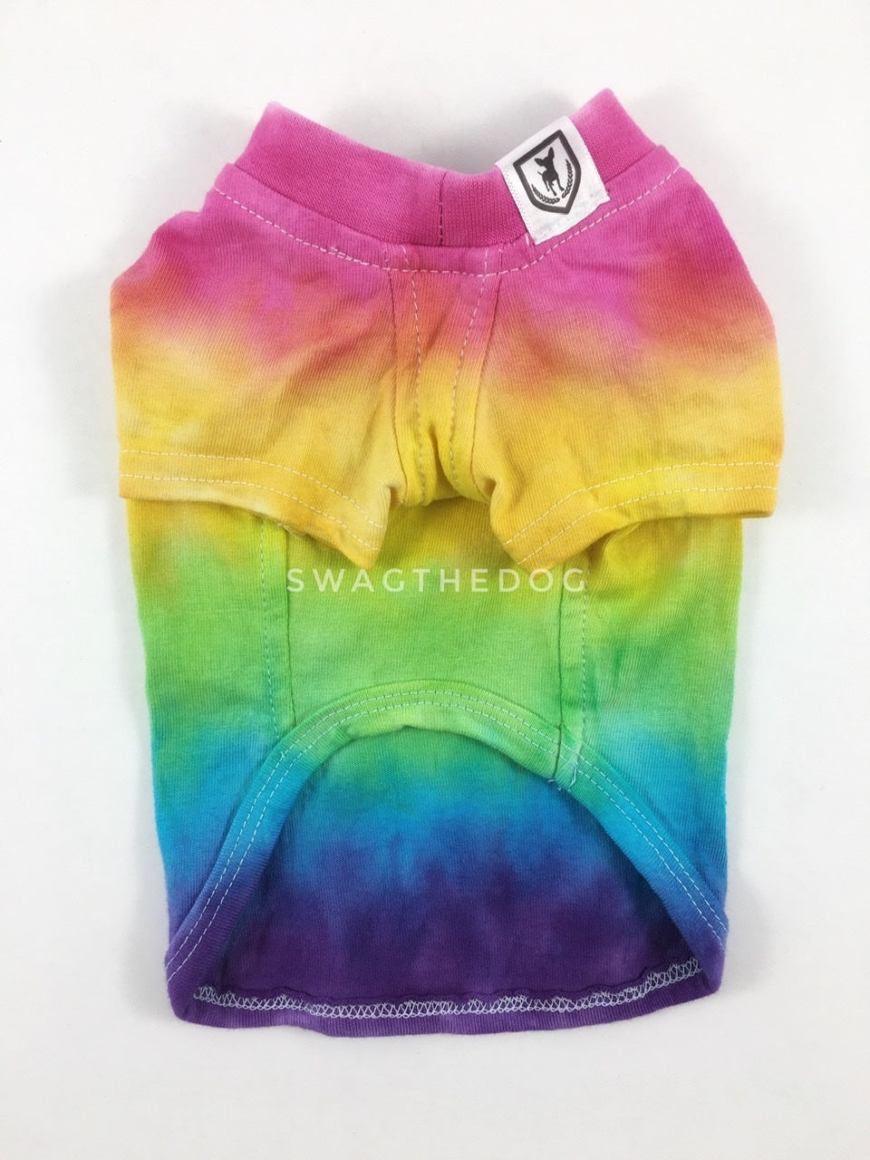 Swagadelic Pride Ombré Tie Dye Tee - Product front view. The hand tie-dyed tee with Pink, Yellow, Green, Sky Blue and Purple