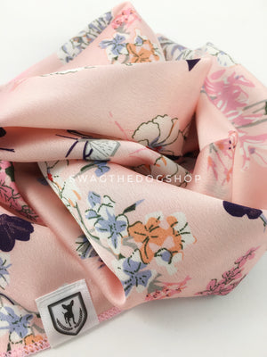 Pink Wild Flowers Swagdana Scarf - Close-up View of Product. Dog Bandana. Dog Scarf.