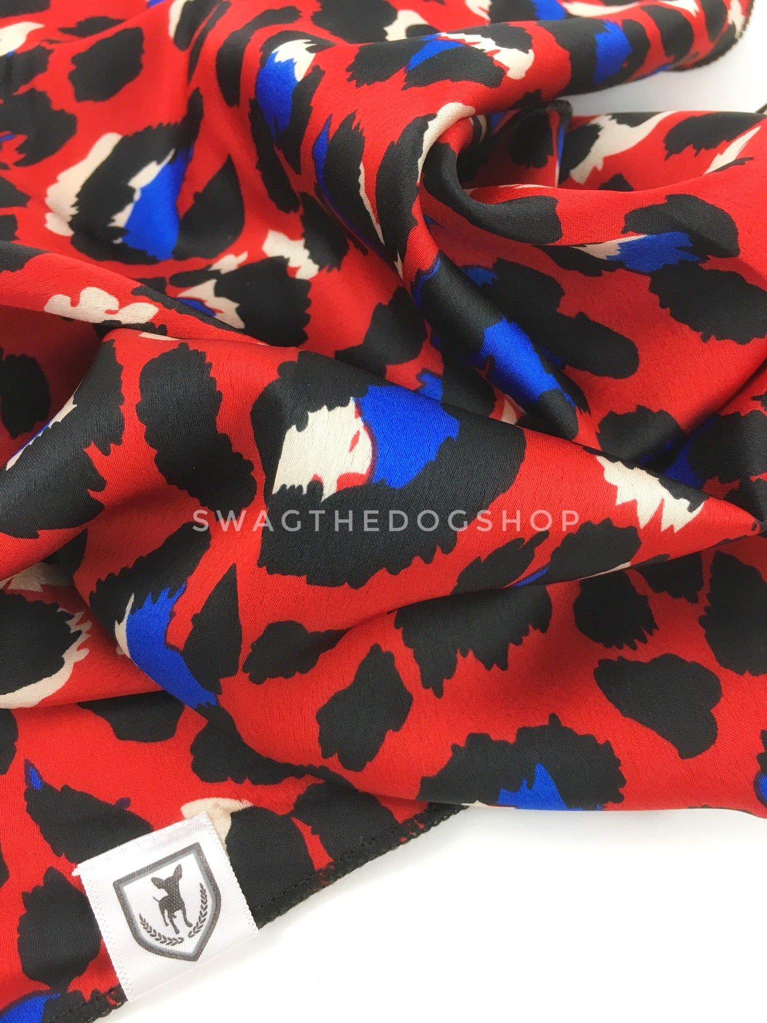 Fierce Vibrant Red with Blue Swagdana Scarf - Close-up View of Product. Dog Bandana. Dog Scarf