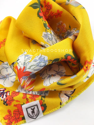 Yellow Wild Flower Swagdana Scarf - Close-up View of Product. Dog Bandana. Dog Scarf.