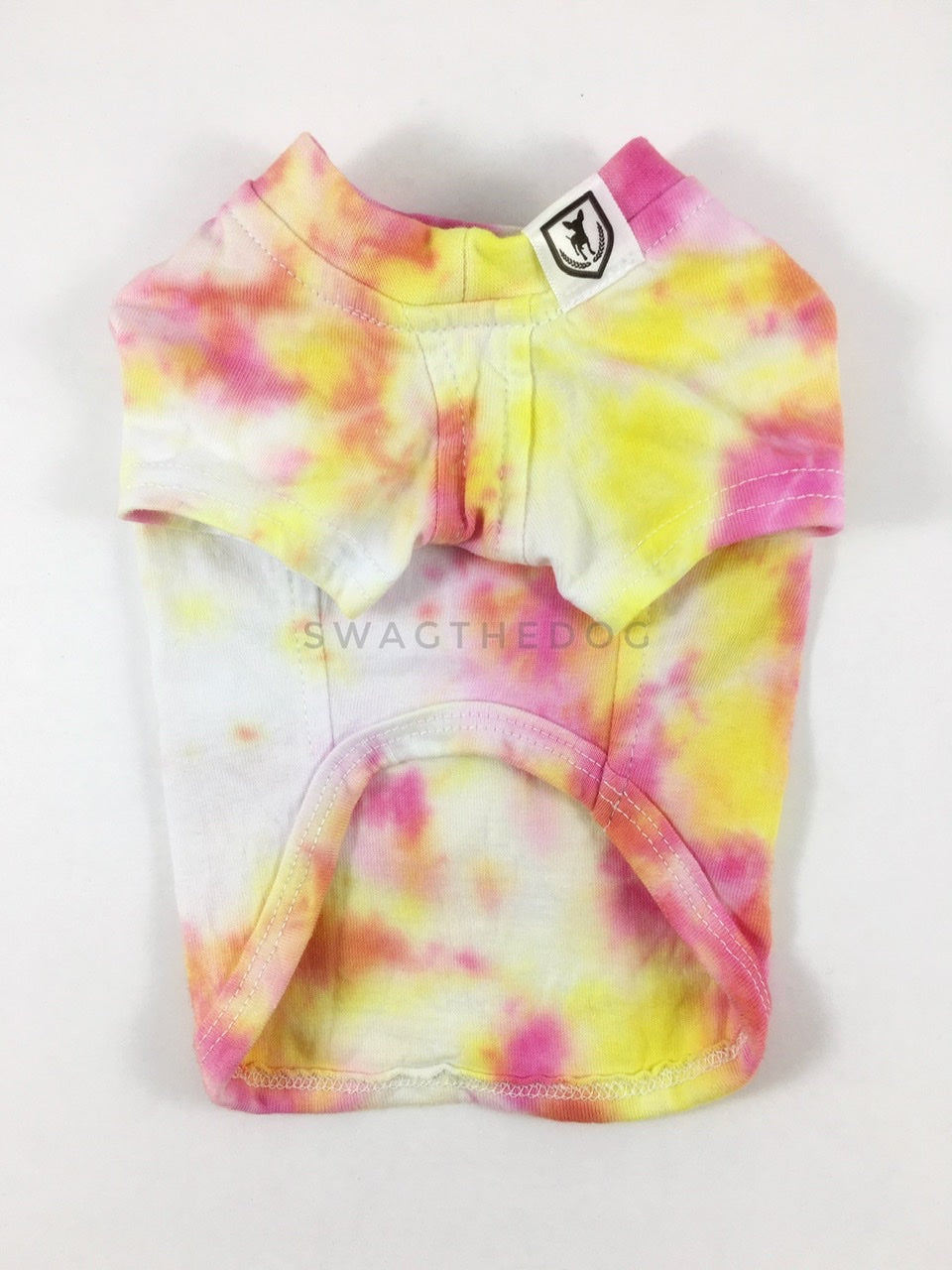 Swagadelic Cotton Candy Tie Dye Tee - Product front view. The hand tie-dyed tee with Pink and Yellow