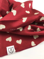 Full of Heart Red Swagdana Scarf - Close-up View Of Product. Dog Bandana. Dog Scarf.