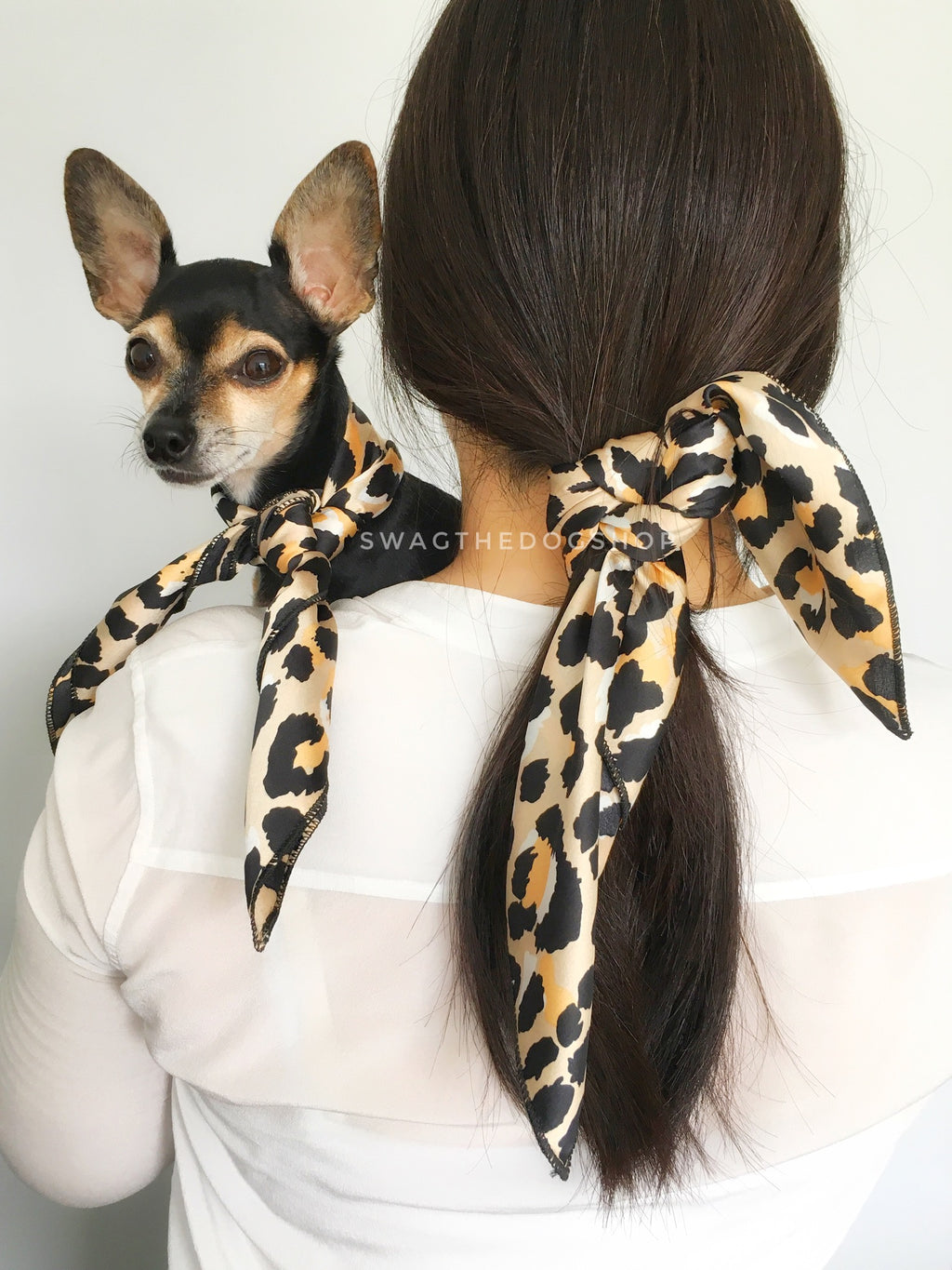 Fierce Beige with Yellow Swagdana Scarf - Woman wearing Swagdana Scarf as Hair Tie and Hugo, The Chihuahua Wearing Swagdana Scarf as Neckerchief. Dog Bandana. Dog Scarf