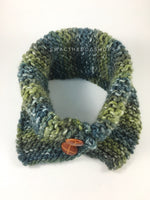 Love of Green Swagsnood - Product Above View. Spectrum of Green Color Dog Snood with Accent Button