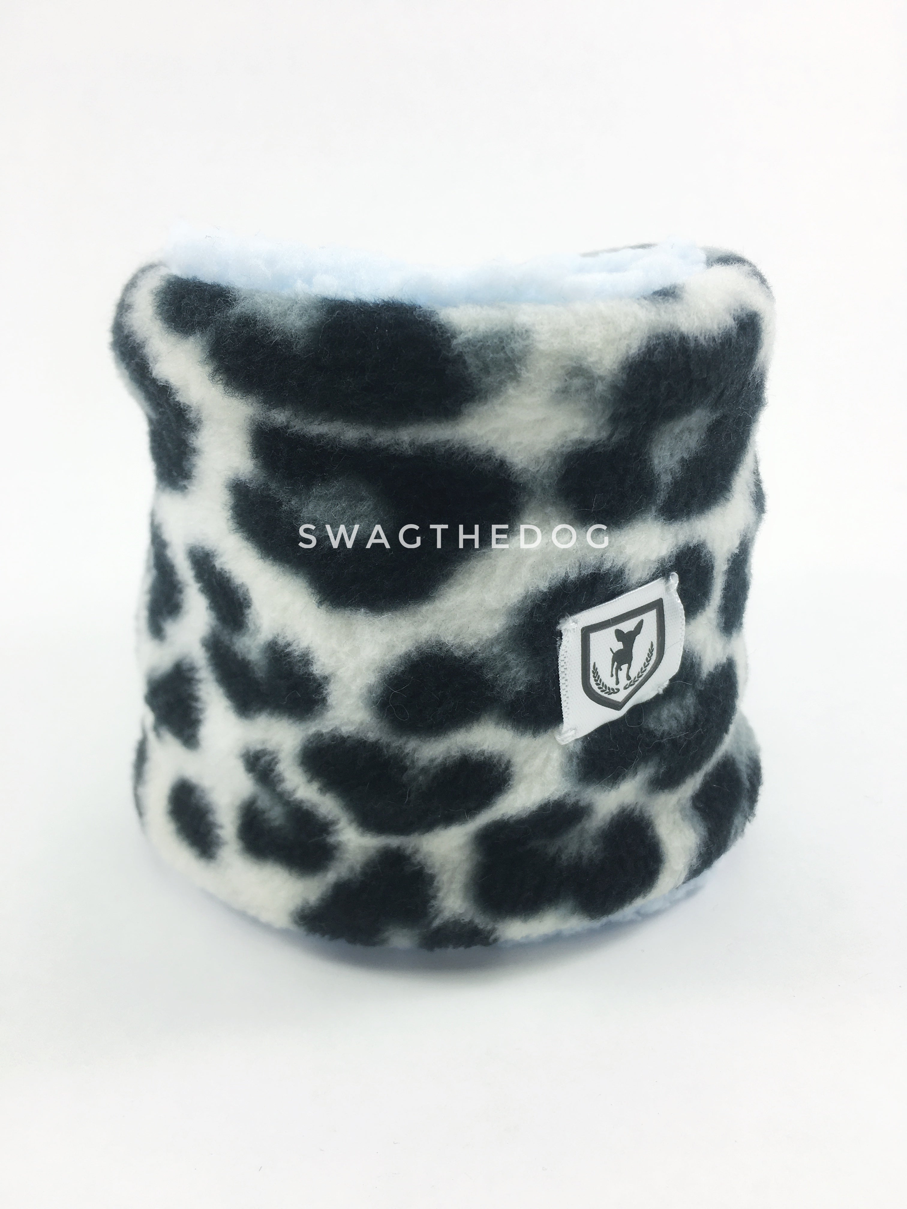 Gray Snow Leopard Swagsnood - Product Front View. Gray snow leopard print fleece Dog Snood and blue sherpa peeking out