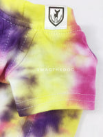 Swagadelic Spiral Tie Dye Tee - Close-up of product front view. The hand tie-dyed tee with Pink, Yellow and Purple