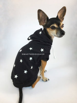 All-Star Black Hoodie - Cute Chihuahua Dog Wearing Hoodie Side View. Black and White Star Hoodie
