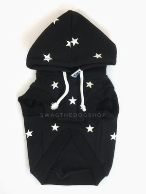 All-Star Black Hoodie - Product Front View. Black and White Star Hoodie