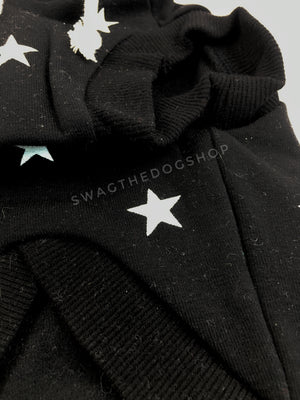 All-Star Black Hoodie - Close up of front. Black and White Star Hoodie