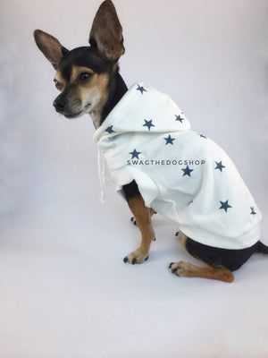 All-Star White Hoodie - Cute Chihuahua Dog Wearing Hoodie Side View. White and Blue Star Hoodie