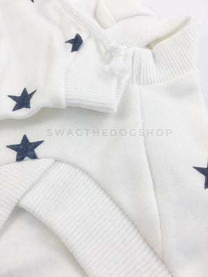 All-Star White Hoodie - Close up of front. White and Blue Star Hoodie